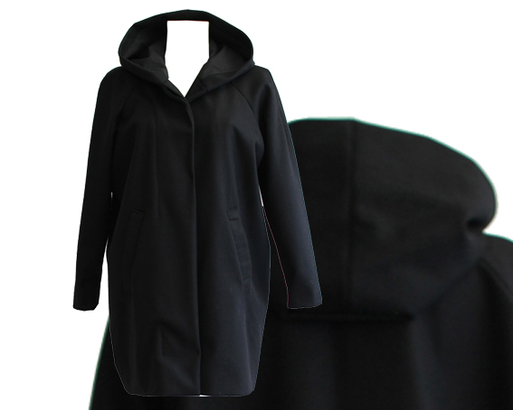 W15 C01 coat raglan hooded wool black cotton lining