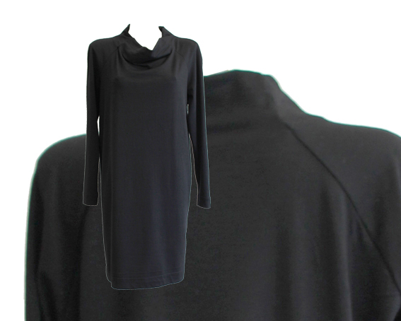 W15 D10 dress boat neckline raglan wool black