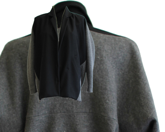 W15 J02 jacket dive in wool black grey cotton lining