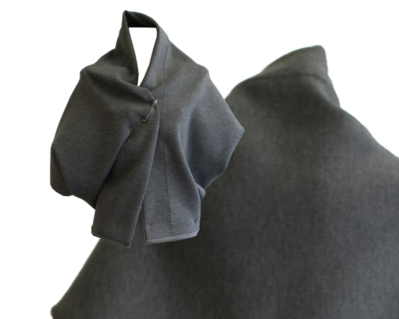 W15 J03 jacket cape knit wool grey