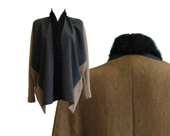 W15 J04 jacket dive in hand knit collar grey melange brown cotton wool