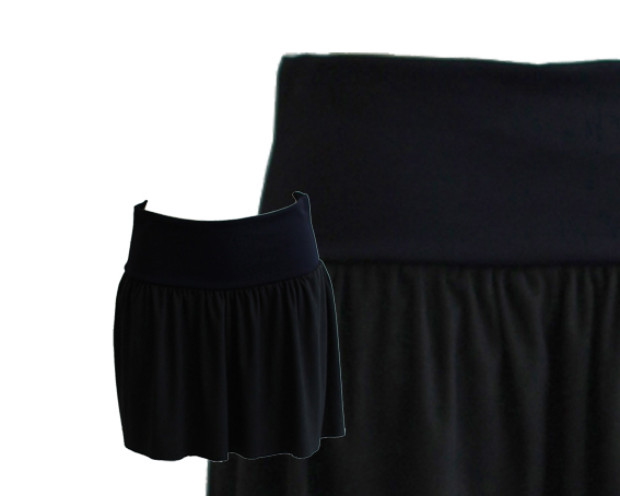 W15 S07 skirt short waistband pleats blue