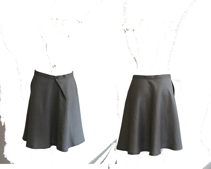 S16 S05 skirt turn around silver linen - cotton