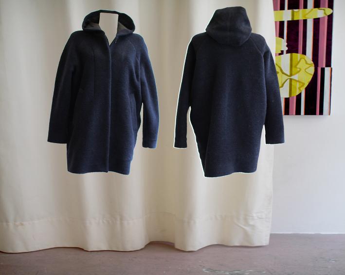 W16 C01 coat hooded button facing wool bluejpg