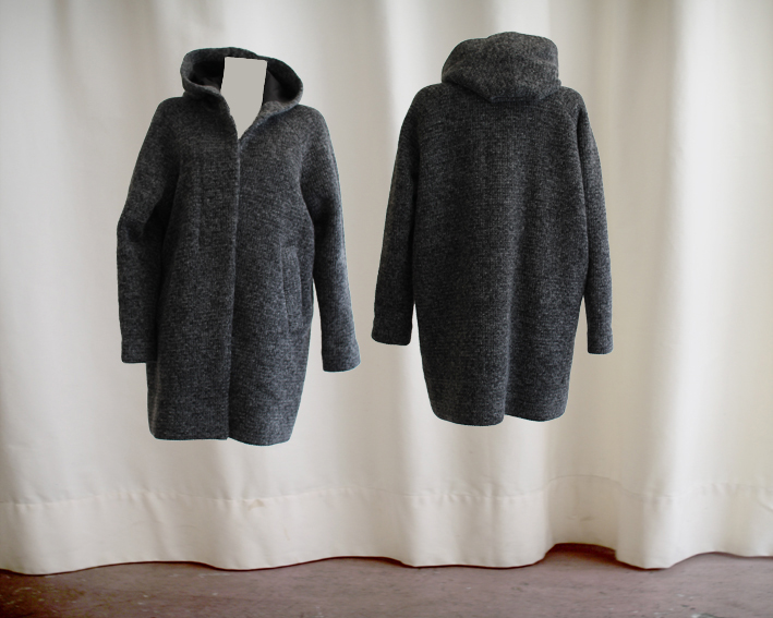 W16 C01 coat hooded button facing wool knit