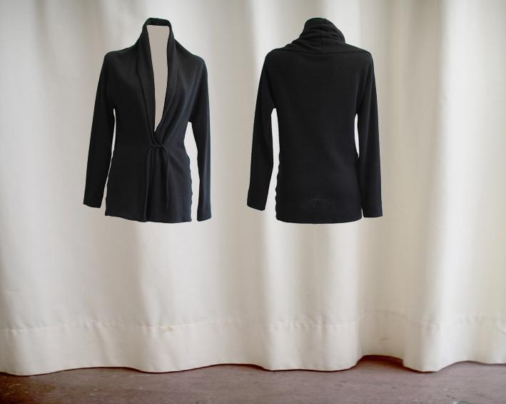 W16 J08 jacket scarf wool black