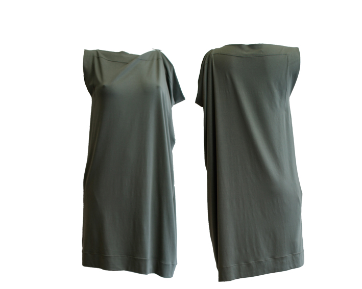 S17 D11 dress square asymmetric jersey green