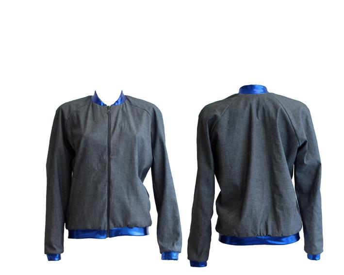 S17 J02 blouson raglan zip jeans metalic blue