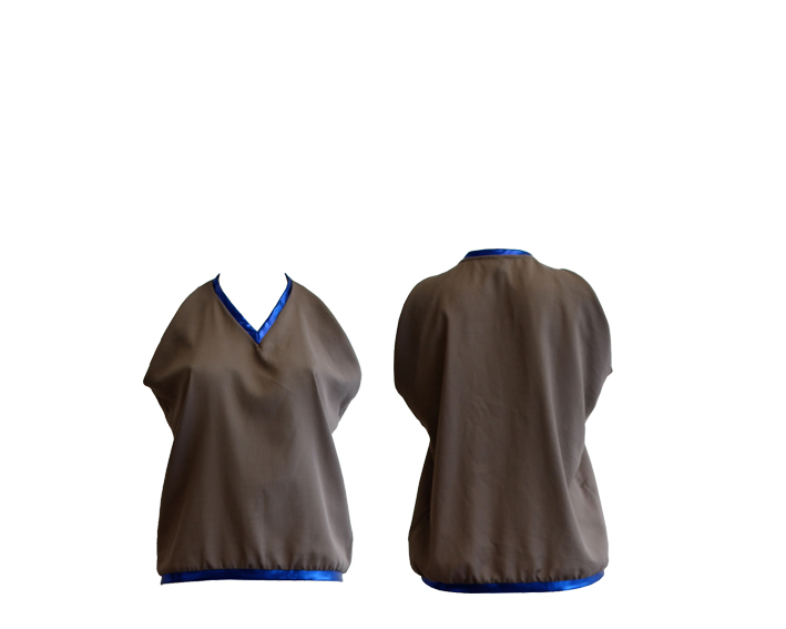 S17 T10 top v-neck mud- metalic blue