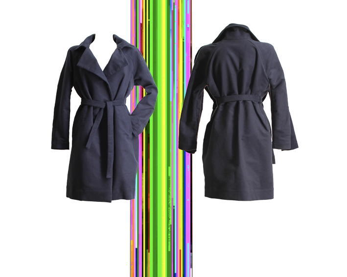 W17 C01 coat raglan belt blue wool lining