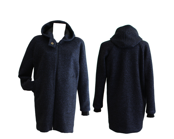 W18 C01 coat hooded zip wool blue-black melange