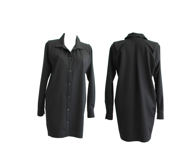 W18 D06 dress blouse shoulder flap flanell wool
