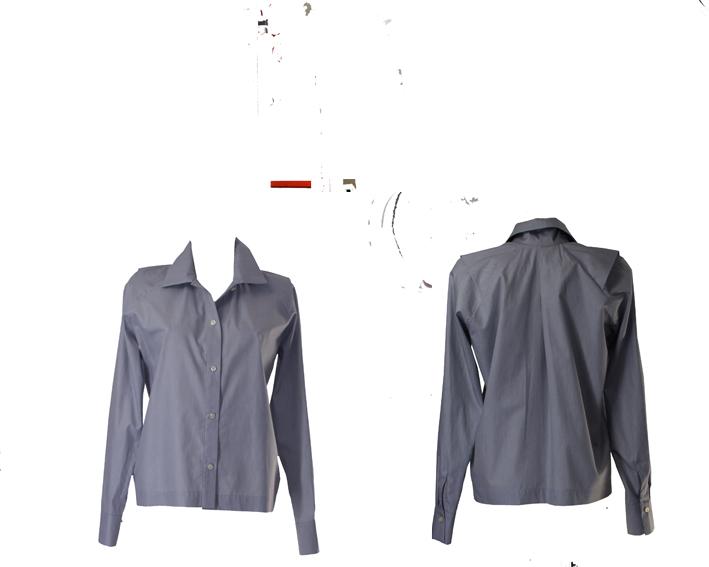S19 B04 blouse shoulder flap blue stripes
