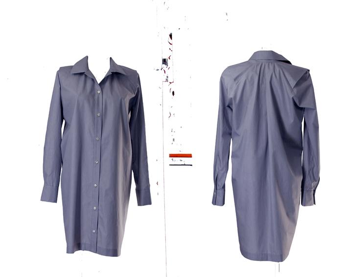 S19 D03 blouse dress shoulder flap blue stripes