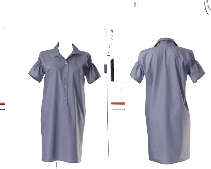 S19 D05 blouse dress gathered sleeves blue stripes