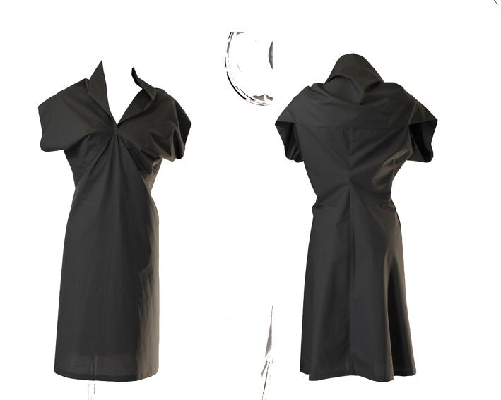 S19 D07 dress cape popeline silky grey