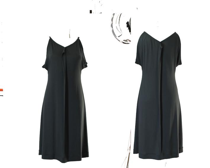 S19 D12 dress sleeveless pleat jersey dark green