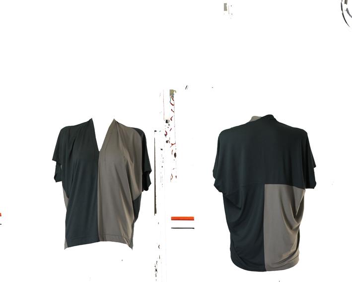 S19 D10 dress dive in jersey bicolor grey dark green
