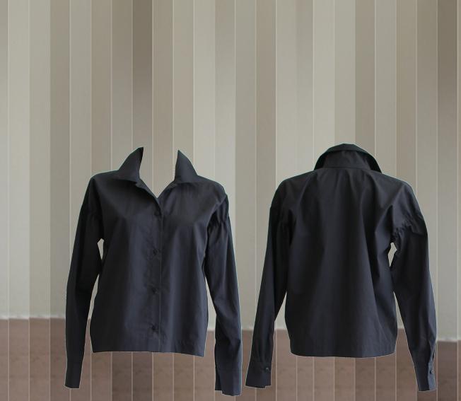 W20 B08 blouse pleats dark blue