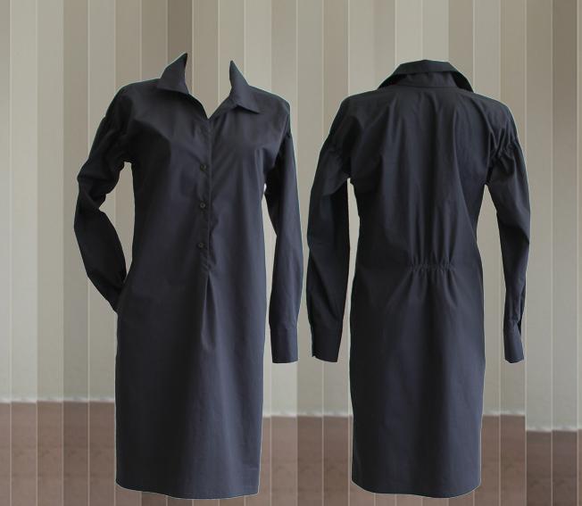 W20 D07 dress blouse pleats dark blue