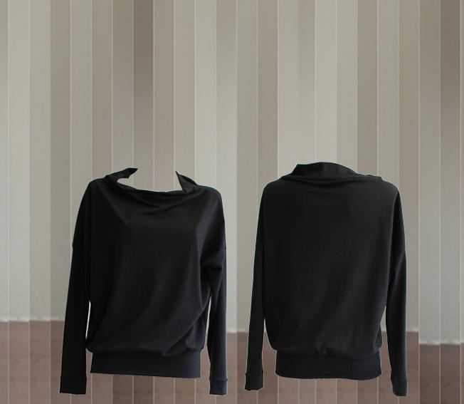 W20 T10 top boat neckline cotton wool black