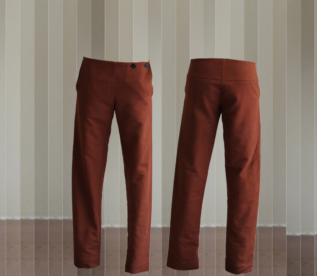 W20 Tr06 trousers flap cotton brown